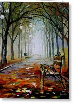 The Way To The Fog - Palette Knife Oil Painting On Canvas By Leonid Afremov Greeting Card by Leonid Afremov
