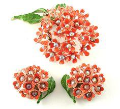 Vintage Flower Brooch Earrings Jewelry Set Hydrangea by kiamichi7, $58.00