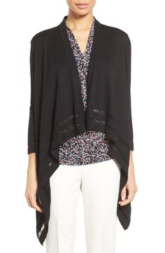 Free shipping and returns on Vince Camuto Drape Front Cardigan (Regular & Petite) at Nordstrom.com. Sheer border stripes add an extra element of style to a staple spring cardigan in a fine-gauge knit spun from soft and breathable cotton-blend yarns.