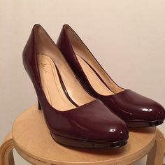 """Cole Haan Air Cheslea Pump - 9.5B - Oxblood Patent Worn once around house and then stored in closet. I couldn't get used to the height. Part of the Nike Air collection. Heel height is 3.5"""" and the platform height is 9.5"""" Cole Haan Shoes Heels"""