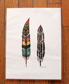 two feathers print, feathers print