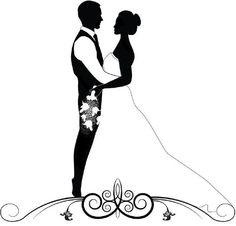 Resultado de imagen de жених и невеста рисунок черно белый Couple Silhouette, Wedding Silhouette, Wedding Day Messages, Wedding Cards, Blue Wedding, Diy Wedding, Bridal Boutique Interior, Cut Pic, Wedding Invitation Background