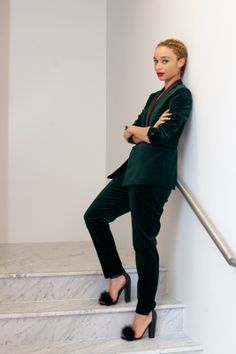 """This look is for days when I'm aiming to create a more androgynous style. I'd probably wear this menswear-inspired outfit to a black-tie event or the opera — it would definitely stand out among all of the floor-length gowns in attendance!""  Topshop Premium Velvet Blazer, $200, available at Topshop; Topshop Premium Velvet Trousers, $100, available at Topshop."