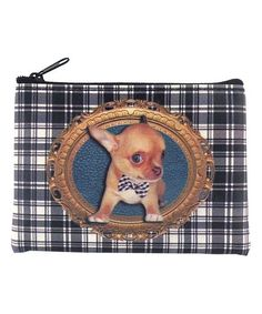 LAVISHY Black & White Plaid Chihuahua Coin Purse | zulily