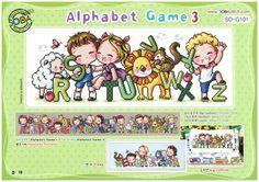 Juego del abecedario 3 - así-G101 - ABC cruz puntada patrón folleto SODA - moderno cruz puntada cuadro - Kawaii alfabeto - niños XStitch