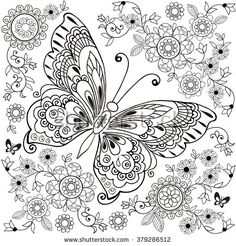 Find zentangle butterfly stock images in HD and millions of other royalty-free stock photos, illustrations and vectors in the Shutterstock collection. Spring Coloring Pages, Printable Adult Coloring Pages, Animal Coloring Pages, Coloring Pages To Print, Colouring Pages, Coloring Books, Butterfly Coloring Page, Butterfly Drawing, Color By Number Printable