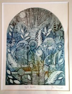 Collagraph print 'Night Garden' Gill Thompson Linocut Prints, Art Prints, Collagraph Printmaking, Night Garden, Plant Drawing, 13 Reasons, Abstract Drawings, Mark Making, Creative Inspiration