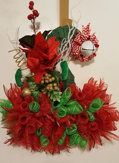 Christmas Wreath,Christmas Door Hanger, Deco mesh Elf hat wreath,Deco mesh Elf hat wreath,- Elf Hat, Elf DecoMesh Wreath Hat,Holiday Decor, by WEEDsByRose on Etsy