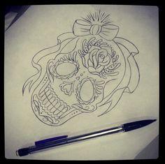 Skull tattoo drawing by Megan Massacre