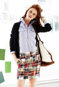 casual madras in ladylike skirt