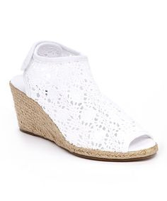 Boasting the espadrille's signature jute-wrapped wedge, this pair features a soft crocheted toe and an adjustable strap in back. Cute Shoes, Buy Now, Boho Chic, Espadrilles, Wedges, Pairs, My Style, Favorite Things, Goodies