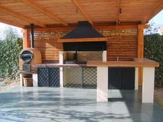 45 Awesome Outdoor Kitchen Ideas and Design - Pandriva Outdoor Bbq Kitchen, Backyard Kitchen, Outdoor Kitchen Design, Backyard Patio, Kitchen Decor, Outdoor Rooms, Outdoor Living, Outdoor Decor, Parrilla Exterior