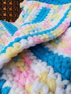 Pin by susan on crocheting bernat baby blanket, baby boy crochet bl Blue Baby Blanket, Bernat Baby Blanket, Blanket Yarn, Crib Blanket, Chunky Blanket, Baby Afghans, Swaddle Blanket, Childrens Crochet Hats, Crochet For Boys