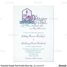 Fairytale Purple Teal Castle Once Upon Wedding 5x7 Paper Invitation Card