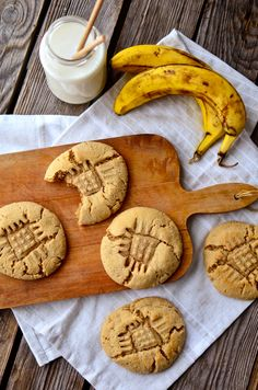 Big, fat, chewy peanut butter banana cookies! Unlike most banana cookies, these are not cakey at all!