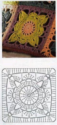 "I'm 99% sure this is a pattern diagram for Jan Eaton's ""Willow"" block.  #crochet #square #motif"