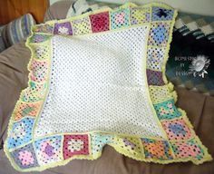 Rainbow Granny Squares Baby Blanket by HomespunByDesign on Etsy, $25.00