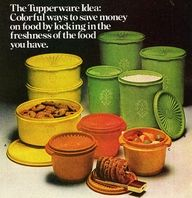 Tupperware, in Harvest Gold, Avocado Green, and Burnt Orange.  It just doesn't get any more 1970s than that!