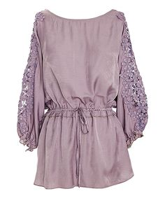 This Lavender Lace-Sleeve Tie-Waist Tunic by Nick & Mo is perfect! #zulilyfinds