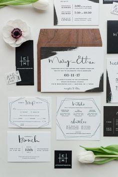 Beautiful modern wedding invitation set