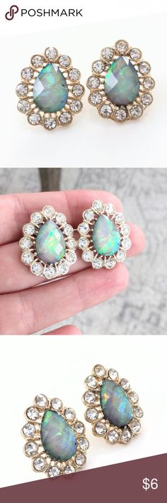Stunning crystal-accented Baublebar earrings Worn exactly once to a party for a few hours and in perfect condition!  Impressive size but not overly heavy in my opinion.  Price is firm because it's so low.  Add to a bundle to save 10% today! Baublebar Jewelry Earrings