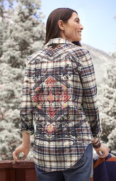 Mixed Message Shirt - Embroidered, Button-up Plaid Shirt.