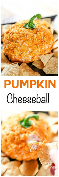 Savory Pumpkin Cheeseball: Tangy cream cheese and sharp cheddar taste delicious in this cheeseball decorated to look like a pumpkin. Super easy and cute idea for a Halloween Party!