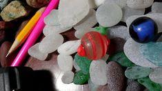 Orange swirl sea glass and marbles!