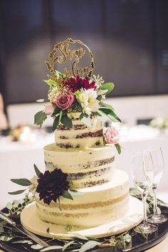 Semi nake wedding cake with fresh blooms | Made by Sweet by Nature, Melbourne VIC