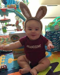 Lucas, the happiest little bunny! He sure is #handsome! I think he had a great first Easter. #babysfirsteaster #Nakanarilife