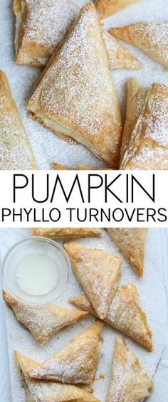 Such a simple and wonderful recipe for pumpkin phyllo turnovers. Thin layers of phyllo sheets with a wonderful pumpkin cream cheese filling. Phylo Pastry Recipes, Phyllo Dough Recipes, Pumpkin Recipes, Fall Recipes, Philo Dough, Turnover Recipes, Pumpkin Cream Cheeses, Pumpkin Dessert, Vegan