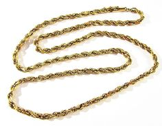 "ESTATE MARKD 10K SOLID YELLOW GOLD 19.5"" LONG 4mm ROPE CHAIN NECKLACE 5.1g NICE! #ROPE"