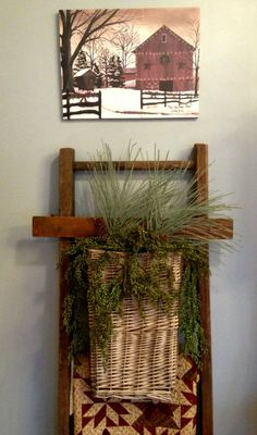 cornbread and beans blog 025 Prim Christmas, Cornbread, Ladder Decor, Quilt Racks, Beans, Rustic, Quilts, Blog, Crafts