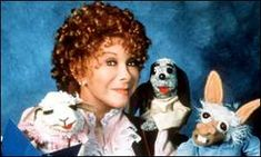 Shari Lewis and her friends Lamb Chop, Hush Puppy, and Charlie Horse