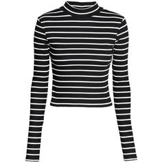 H&M Short polo-neck top ($11) ❤ liked on Polyvore featuring tops, h&m, shirts, black, black long sleeve top, black top, ribbed turtleneck, black long sleeve shirt and black shirt