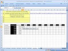 Excel Facil Truco #39: Diagrama de Gantt para calendario con dias - YouTube. Bajar el libro de trabajo: http://www.excelfacil123.com.ar/  Como usar Formato Condicional, la funcion Y, referencias de celdas para crear un Diagrama de GANTT en las celdas para un calendario de días.  Twitter: http://twitter.com/ExcelFacil123 Facebook: https://www.facebook.com/pages/Excel-F%C3%A1cil/370567826406025 Excelisfun: http://www.youtube.com/user/ExcelIsFun?feature=watch