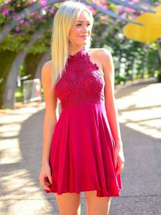 Hd09096 Charming Homecoming Dress,Chiffon Homecoming Dress,Lace Homecoming Dress,Halter Homecoming Dress