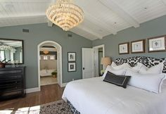 Love the room color for master. and chandelier for dining room.