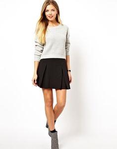 Image 1 ofASOS Box Pleat Skater Skirt in Ponte