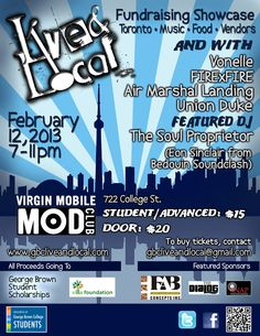 TONIGHT - We are looking forward to going to this AWESOME new event LIVE & LOCAL at the Mod Club with performances by Vonelle, FirexFire, Air Marshal Landing, Union Duke, Featured DJ The Soul Proprietor (722 College Street, Toronto)