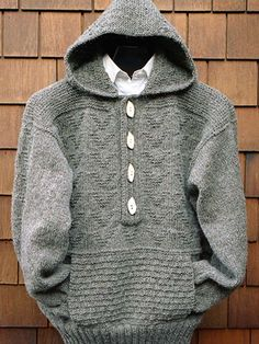 Hooded Placket Pullover Knit Pattern