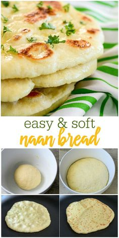 This homemade Naan Bread is soft, chewy, and simply delicious. You won't bel… This homemade Naan Bread is soft, chewy, and simply delicious. You won't believe how easy it is to make and will want it as a side to every meal. Homemade Naan Bread, Recipes With Naan Bread, Best Bread Recipe, Quick Naan Bread Recipe, Homemade Tortillas, Indian Bread Recipes, Homemade Food, Naan Bread Machine Recipe, Nann Bread Recipe