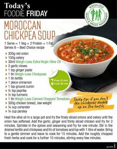 Weigh-Less Best Choice Recipe Healthy Eating Recipes, Veggie Recipes, Soup Recipes, Healthy Snacks, Cooking Recipes, Recipies, Moroccan Chickpea Soup, Homemade Soup, Veggie Food