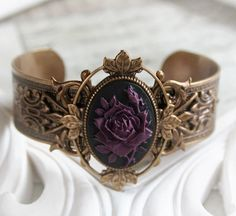 OPHELIA'S ROSES Victorian cameo bracelet with dark roses from Vintage Angel Jewelry