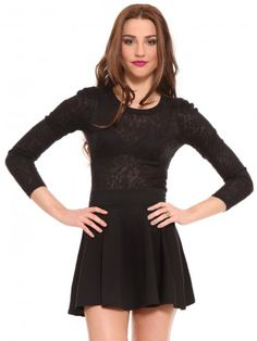 Black, lace, long sleeve top featuring tuck detailing at the shoulders