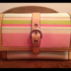 Coach Watercolor Wallet Striped Coach Watercolor Tri-fold wallet. Fabric with pink leather inside and leather trim. Shown with matching bag and flip flop keychain. Gently used. Coach Bags Clutches & Wristlets