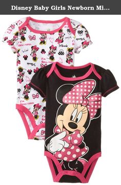 Disney Baby Girls Newborn Minnie Mouse 2 Pack Bodysuit, Black, 6-9 Months. Amazing layette set for your little baby Perfect to wear around the house or going out to play. Great set for any season. With the fun colors, soft fabric and everyone's loveable character, it's sure to be an instant favorite.