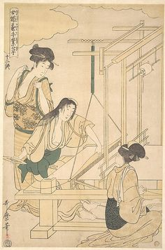 Women Weaving Silk Cloth  Kitagawa Utamaro  (Japanese, 1753–1806)  Period: Edo period (1615–1868) Date: ca. 1800 Culture: Japan Medium: Polychrome woodblock print; ink and color on paper
