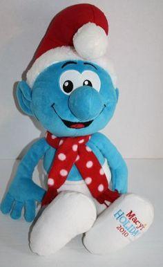 "Macy's 2010 Santa Smurf Christmas hat scarf 21"" soft plush stuffed animal toy"