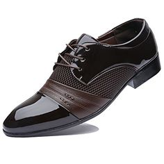 Rainlin Men's Breathable Leather Lined Perforated Dress Oxfords Shoes Wine Red US Men's Shoes, Dress Shoes, Amazon Sale, Mens Suits, Oxford Shoes, Oxfords, Lace Up, Brown, Sneakers